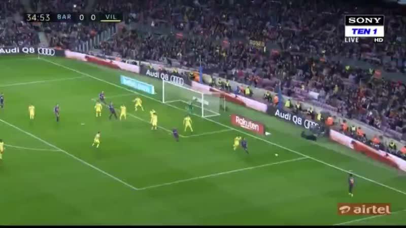 Gerard Pique Goal - Barcelona 1-0 Villarreal.mp4