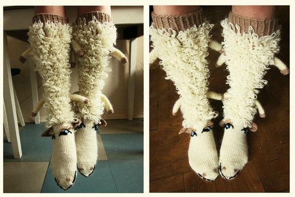 Чумачечие овечие носочки! Рукодельницы, кто умеет вязать? Идейка для вас!