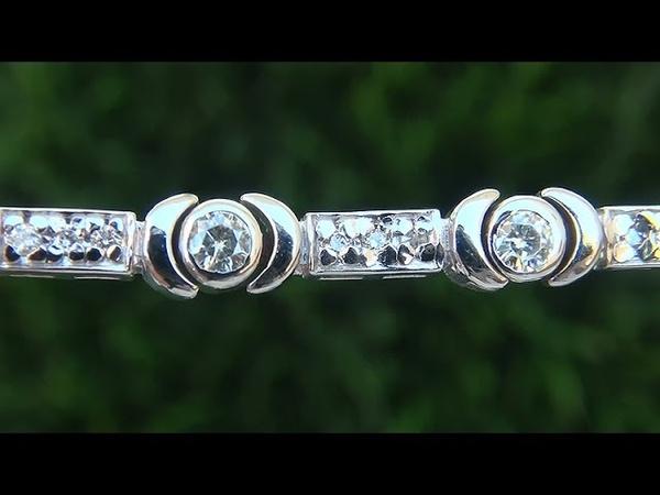 Estate VS1G Natural Diamond and 14k White Gold Tennis Cocktail Bracelet - C635