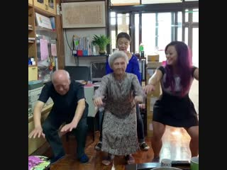 I got to squat with my 93 year old grandpa and my 90 year old grandma in taiwan