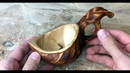 Making a wooden coffee cup out of birch burl wood by jonas olsen from Norway