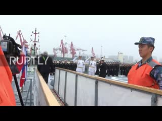 China_ Russian frigate Admiral Gorshkov arrives in Qingdao for Chinese Navy anni