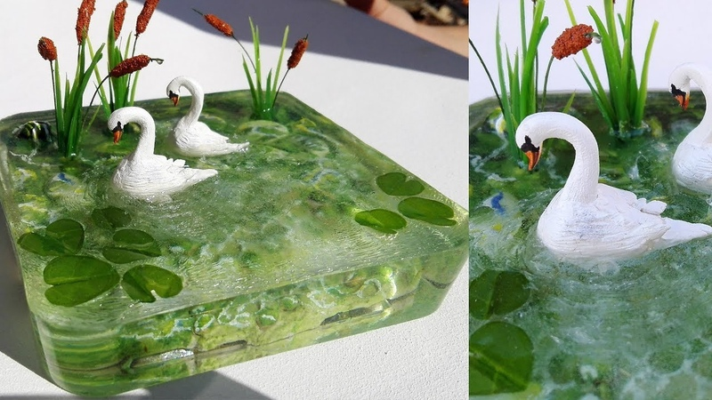 How to make Swan in lake   Resin pond   diorama