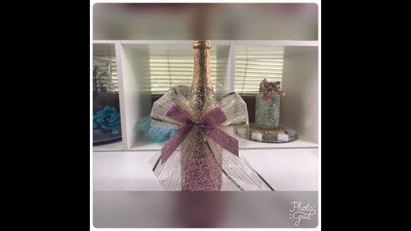 Botella decorada para quince años ó boda.