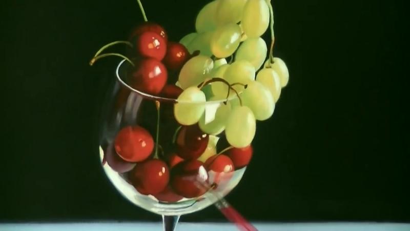 5 Cerezas y uvas. Óleos J. Martón