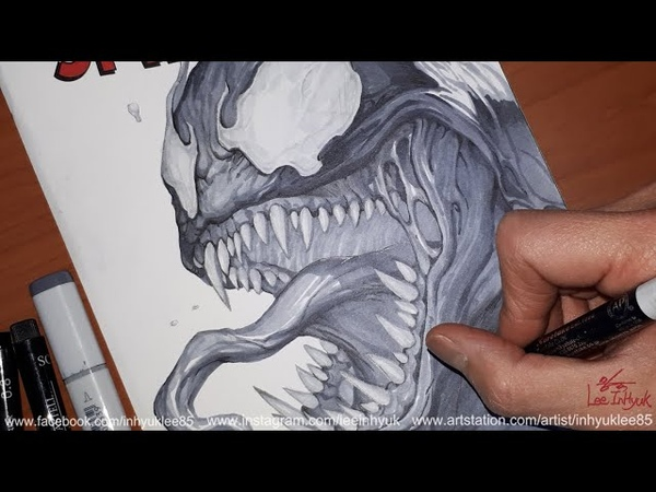【MARVEL】 Venom headshot Inks work by.InHyuk Lee (마블 베놈 잉크작업 by.이인혁)