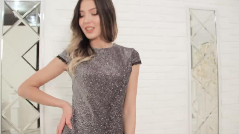 Платье из ткани трикотаж с люрексом.