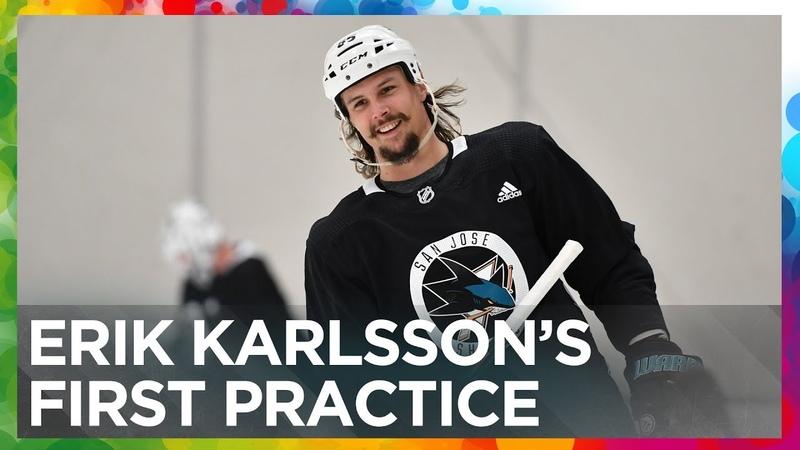 Erik Karlsson's first practice with the San Jose Sharks