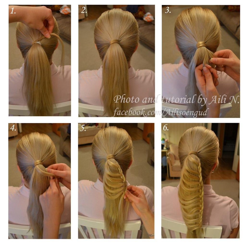 Прически на длинные волосы для девочек из хвоста своими руками