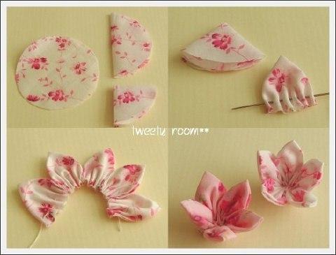 Простой цветок из ткани мастер класс