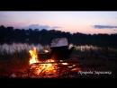 Медитация на огонь, костер, природа, звуки природы, дрова горят, поленья, вечерело, чайник закипает