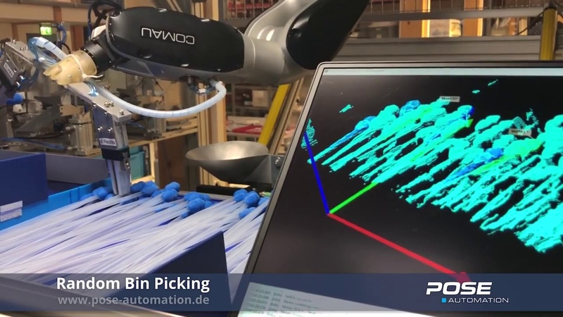 Fast random bin picking - Ensenso Halcon - 3D Vision Robotics | Pose Automation GmbH