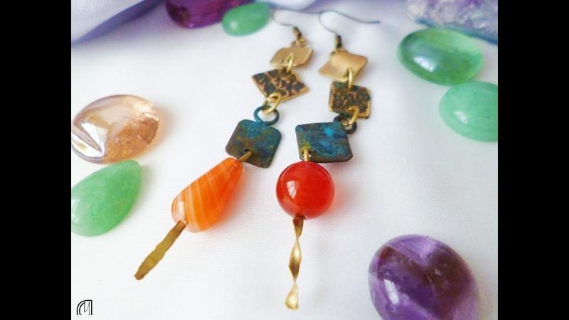 Серьги с агатом и сердоликом. Asymmetrical earrings with agate, made by Poludnitsa workshop.