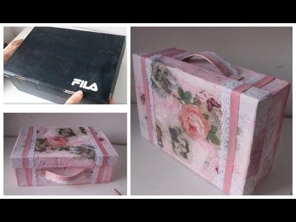 Reciclado de caja de zapatillas con decoupage - Manualidades con material reciclado - DIY