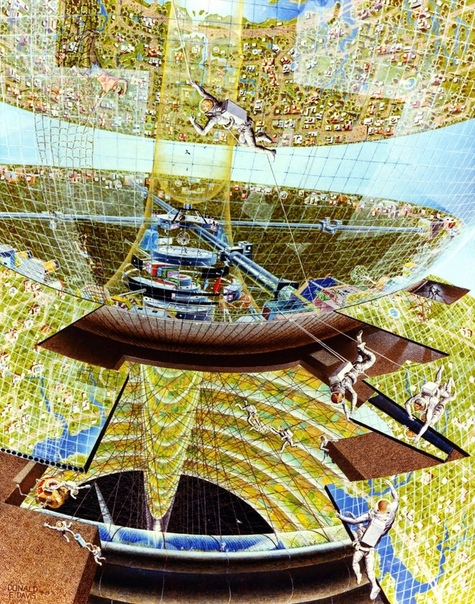 Серия иллюстраций космических колоний для НАСА. В 1970-е годы НАСА организовало несколько летних школ, участники которых работали над созданием концепций будущих космических колоний. На