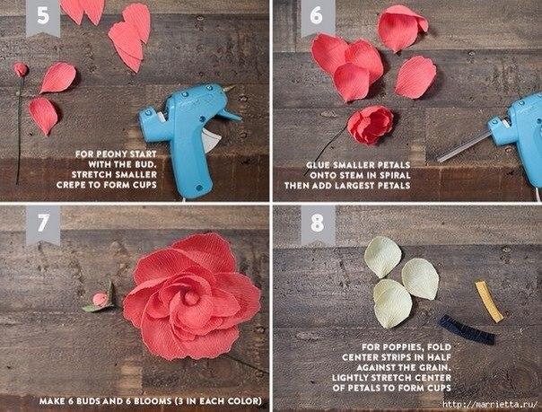 Как сделать цветы из гофрированной бумаги своими руками на голову