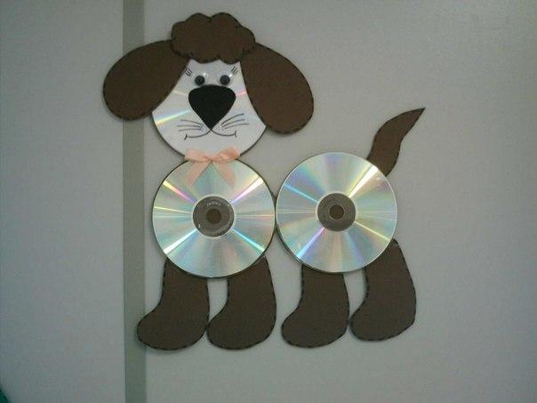 Собака из сд дисков своими руками