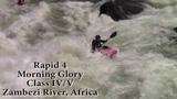 Kayaking Rapid 4, Morning Glory, on the Zambezi River, Africa.