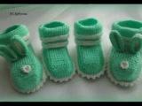 Вязаные пинетки для детей. Knitted baby booties.