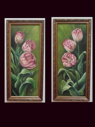 Картины с нежными тюльпанами в