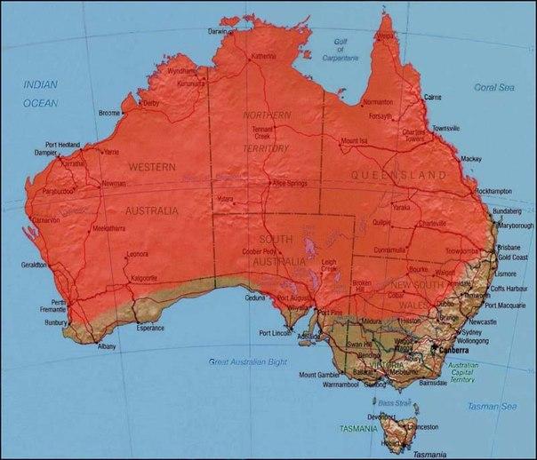 Ареал обитания: повсюду в Австралии, кроме Виктории, Тасмании и южных окраин Западной Австралии - самый обширный ареал обитания среди австралийских змей.