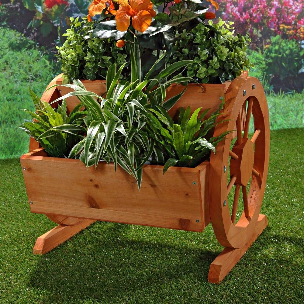 Jardinera maseta florero con ruedas de madera para jard n balc n terraza ebay - Jardineras con ruedas ...