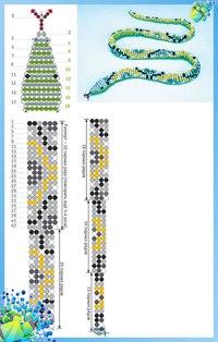 Схема змеи со сложным орнаментом на спинке.  Увеличенную схему можно посмотреть здесь - http...