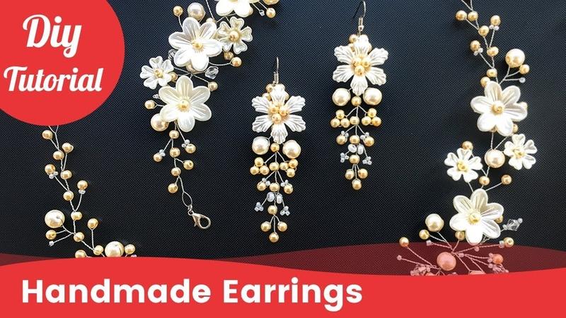 How to Make Bridal Earrings. Easy Quick Wedding Pearl Earrings. DIY Craft Idea.