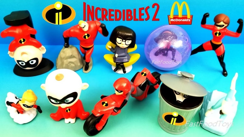 2018 McDONALD'S INCREDIBLES 2 HAPPY MEAL TOYS DISNEY PIXAR MOVIE FULL SET 10 KIDS TOY UNBOXING WORLD