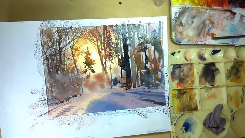 2 Акварельный пейзаж зимнего леса с утрированным солнечным контражуром batovanton