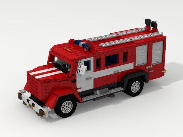 Как сделать из лего пожарный машину