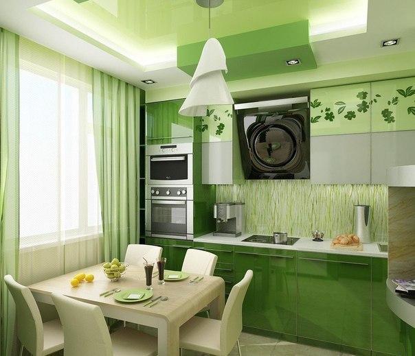 Кухня в зеленых тонах Как вам?