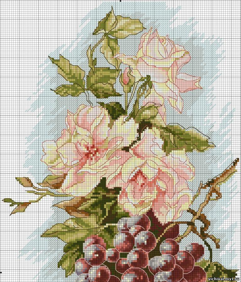 Вышивка чайные розы схема 72