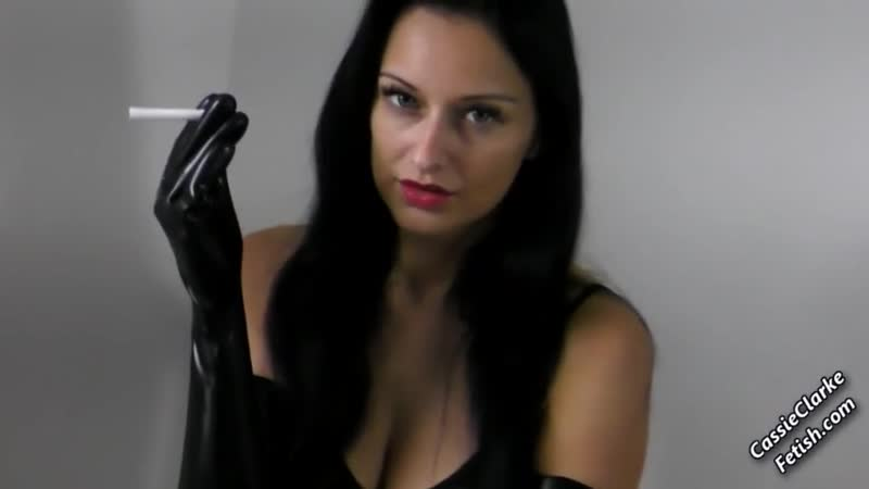 Smoking Fetish Dom Cassie in Latex Gloves and Leggings