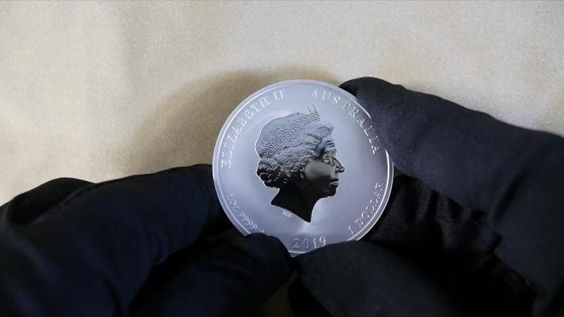 Год Свиньи 2019 Серебряная и золотая инвестиционная монета АвстралииClose_look_at_2019_Year_of_the_Pig_Australia