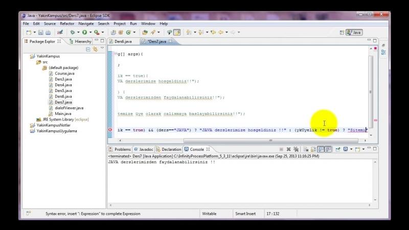Yakın Kampüs - Java ile Programlamaya Giriş - Ders 7- If Komutu (Part III)