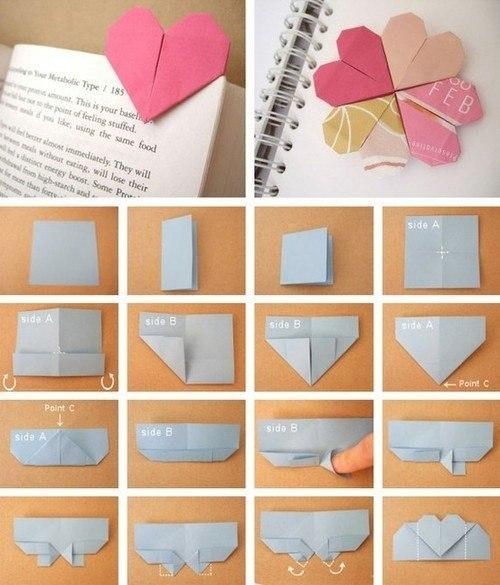 Закладки для книги своими руками сердечко