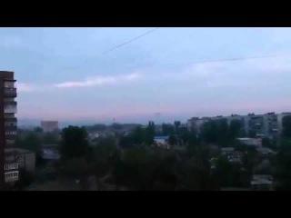 Украина.Славянск! Утро 02 05 2014 Выстрелы, Сирена, Вертолет
