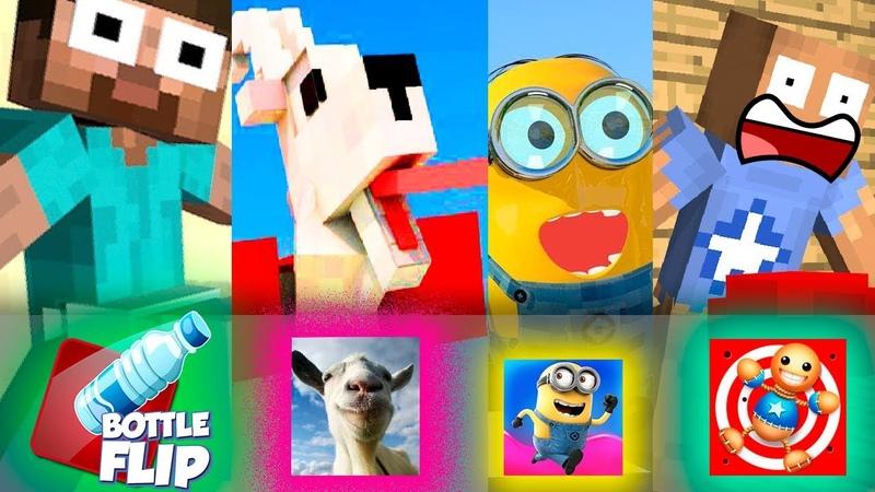✅ Monster School TOP 10 SEASON 3 ALL EPISODE BOTTLE FLIP KICK THE BUDDY Minecraft Animation