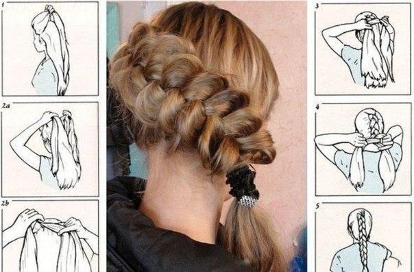 Косы на каждый день на длинные волосы своими руками фото