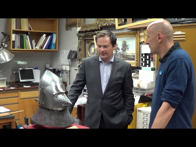 With Tobias Capwell (Wallace Collection) discussing Agincourt bascinets - Part 3