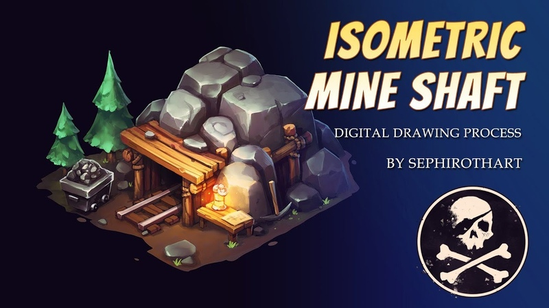 MINE SHAFT digital drawing in ISOMETRIC projection