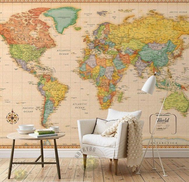 Обои с картой мира