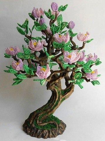 Дерево магнолия из бисера мастер класс с пошаговым фото