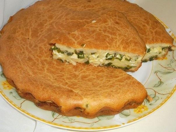 """""""Заливной пирог с зелёным луком и яйцом"""""""