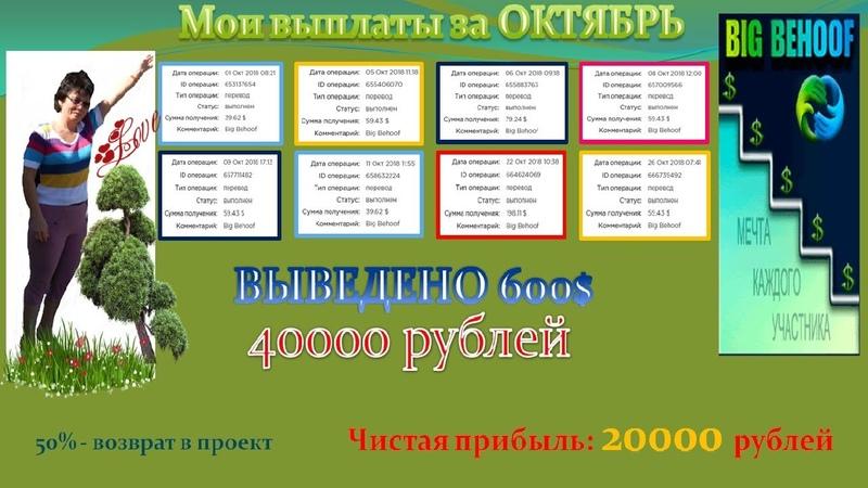 Отчет за ОКТЯБРЬ 2018 BIGBEHOOF Чистый доход 20000 руб в месяц!