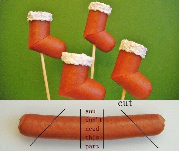 Оригинальная идея для нового года. Сапожки из сосиски.