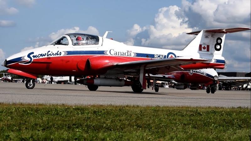 [HD] CAF Snowbirds taxiing take off - Aero Gatineau Ottawa 2018