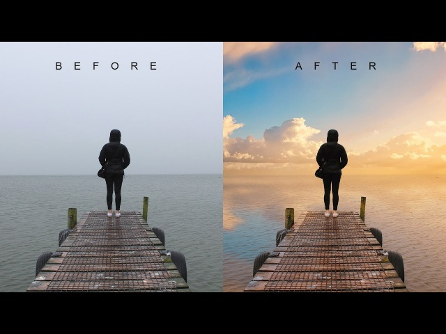 How to Change Overcast Photos into Awesome in Photoshop - Add Sunset to Boring Sky Easily Quickly