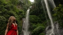 Sexy Girl in Red on Waterfall